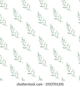 Gently green leaf branches on a white background. Watercolor seamless pattern