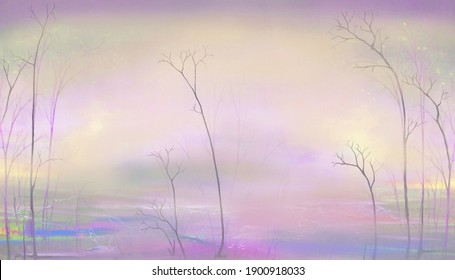 Gently pink surreal foggy landscape. Oil painting.