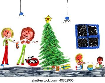 Genuine Christmas Kid Art Drawn by a Genuine Kid!