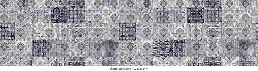 Geo Pattern, Japanese Kimono Female Organic Texture. Abstract Urban Broken Graphic Motif. Seamless Pattern. Trendy Cool Asian Boho Geo Pattern Fashion Summer Background Retro Vintage Asian Kimono