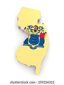 Geographic border map and flag of New Jersey, The Garden State