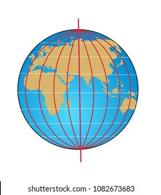 Geographic coordinate system of the globe. Latitude is a coordinate line that specifies the north-south location. Longitude is a coordinate line that specifies the east-west location.