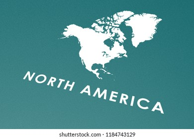Geographic North America Map Perspective, Continent Isolated, Words Printed White on Aquamarine Blue Carton Paper, Symbol, Infographic