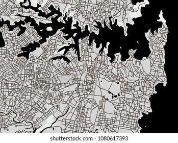 geographical map Downtown Sydney, Australia. Black and white image. Background monochrome