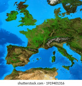 Geographical map of Western Europe, centered on France. Detailed flat view of the Planet Earth and its landforms. 3D illustration - Elements of this image furnished by NASA