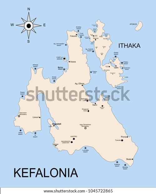 Geography Map Kefalonia Ithaka Island Archipelago Stock