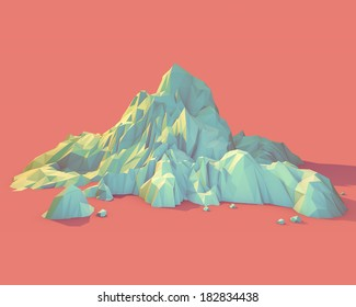 Geometric 3d Mountain Scene (Series)
