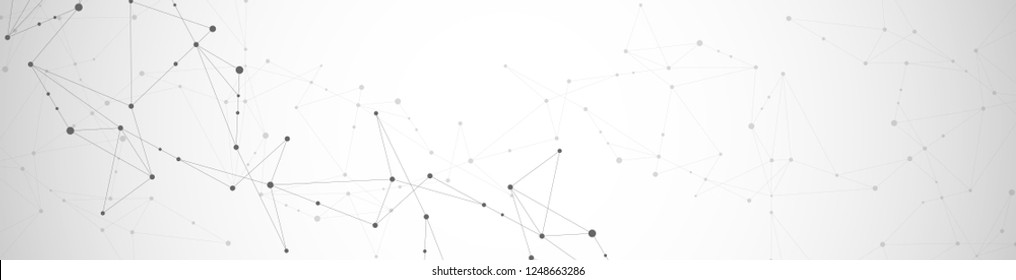 Geometric abstract background with connected dots and lines. Molecular structure and communication. Digital technology background and network connection