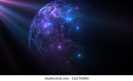 Geometric abstract background with connected line and dots. Structure molecule and communication. Big Data Visualization. Medical, technology, science background.