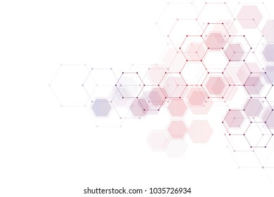 Geometric abstract background with hexagon molecule