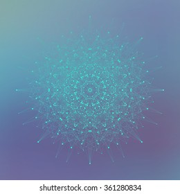 Geometric abstract illustration with connected line and dots. Graphic background for your design .