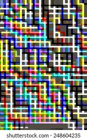 Geometric abstract of multicolored, multilevel grid on off-green background for themes of complexity, conformity, multiplicity, or interconnection