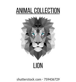 Geometric animal blue eyes lion head background