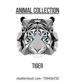 Geometric animal blue eyes tiger head background