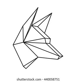 Geometric animal wolf head drawn in line or triangle style, suitable for modern tattoo templates, icons or logo elements. Raster copy of vector file.