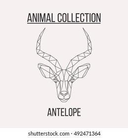 Geometric antelope head isolated on white background vintage design element illustration