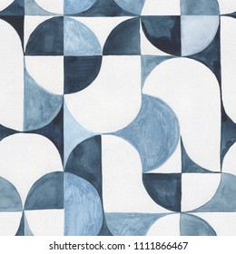 Geometric background. Abstract Hand Drawn Pattern. Watercolor illustration, modern style