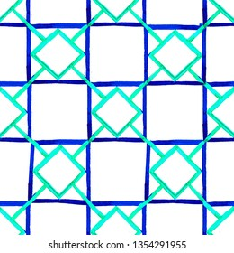 Geometric background with blue and turquoise squares and rhombuses. Ыeamless pattern isolated on white background. Watercolor hand drawn