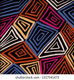 Geometric background. Hand drawn pattern in ethnic style. Aztec textile print. Ideal for backgrounds, wrapping paper or fabric design and other