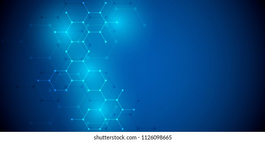 Geometric background from hexagons. Abstract molecular structure and chemical elements. Medical, science and technology concept