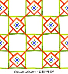 Geometric background with squares and rhombuses. Ethnic style seamless pattern. Watercolor hand drawn