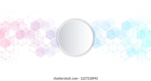 Geometric background texture with molecular structures and chemical compounds. Abstract background of hexagons pattern. Illustration for medical or scientific and technological modern design