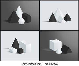 Geometric composition color raster illustration black and white hecagonal square pyramids cuboids cube triangular pentagonal prisms