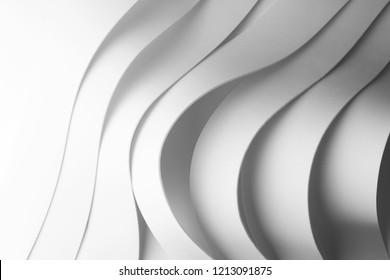 Geometric composition with wavy elements, abstract background, 3d illustration