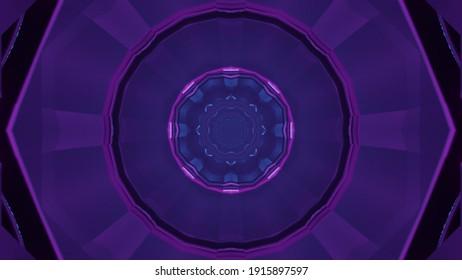 Geometric design of futuristic tunnel 3D illustration