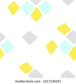 Geometric doodle diamonds. Colorful seamless pattern on white background.