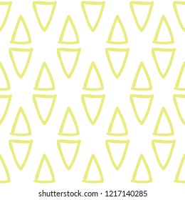 Geometric doodle triangles. Seamless pattern on white background