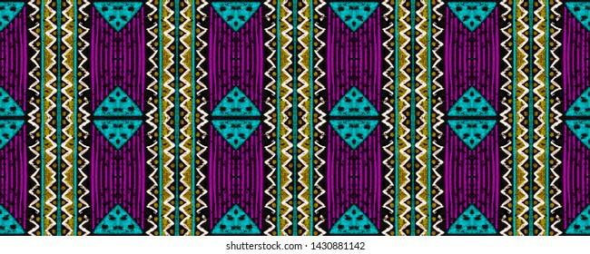 Geometric embroidery. Mexican seamless print. Hand drawn polynesian background. Endless striped wallpaper. Black, gold, purple, cyan, green geometric embroidery.