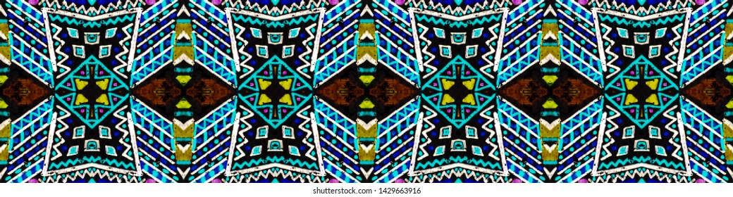 Geometric embroidery. Seamless african pattern. Hand drawn polynesian background. Endless striped wallpaper. Black, gold, purple, cyan, green geometric embroidery.