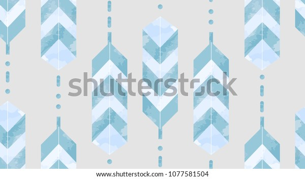 Geometric feathers seamless pattern. Tribal Navajo inspired textile design