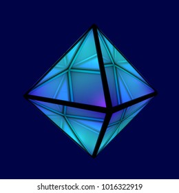 Geometric figure octahedron. Platonic body of equilateral triangles. Sacred symbol of air. Technology background, 3d illustration