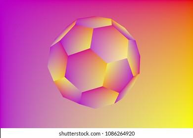 Geometric figure truncated icosahedron. Buckyball. Technology background. 3d illustration