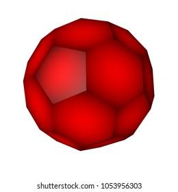 Geometric figure truncated icosahedron isolated on white background. Buckyball. Technology background. 3d illustration