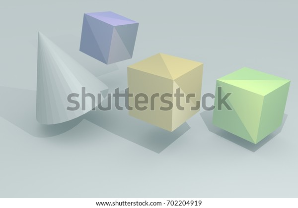 Geometric figures 3D illustration. Desktop wallpaper.