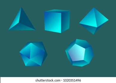 Geometric figures tetrahedron, hexahedron,   octahedron, icosahedron and dodecahedron isolated on blue background. Platonic solids. Technology background. 3d illustration