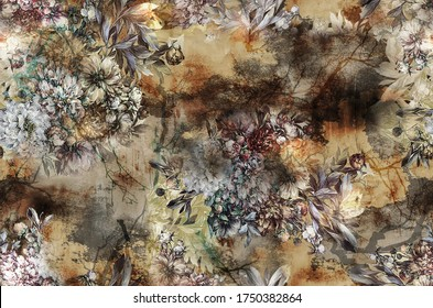 Geometric and flowers pattern.Silk scarf design, fashion textile.