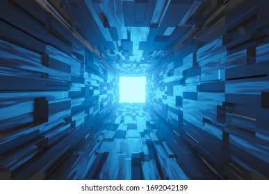 Geometric futuristic sci fi space tunnel corridor with glowing lights 3d illustration wallpaper background design.