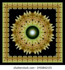 Geometric glossy fractal radiating ornament