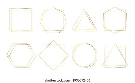 Geometric golden frames. Simple shapes thin line borders for invitations, wedding, premium decor. Art deco style