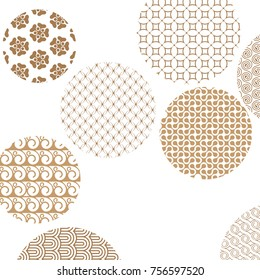Geometric golden patterns formed circles on white