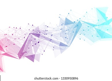 Geometric graphic background molecule and communication. Big data complex with compounds. Lines plexus, minimal array. Digital data visualization. Scientific cybernetic illustration