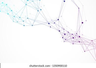 Geometric graphic background molecule and communication. Big data complex with compounds. Lines plexus, minimal array. Digital data visualization. Scientific cybernetic illustration