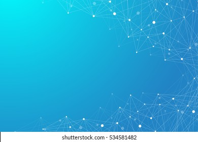 Geometric graphic background molecule and communication. Big data complex with compounds. Perspective backdrop. Minimal array . Digital data visualization. Scientific illustration