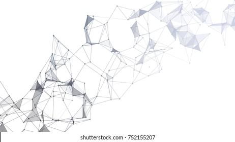 Geometric graphic background molecule and communication. Big data complex with compounds. Lines plexus, minimal array. Digital data visualization.