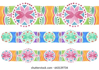 Geometric hand drawn watercolor seamless ornament. Isolated.