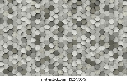 geometric hexagon shape concrete background 3d rendering image